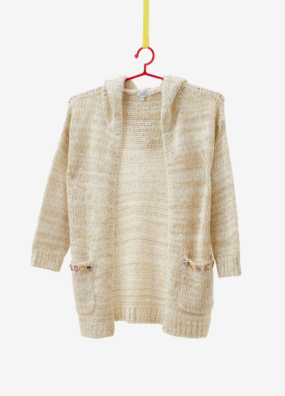 Cardigan with lurex, pockets and hood