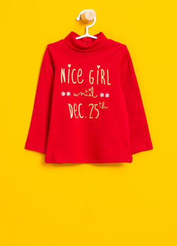 Turtleneck jumper in 100% cotton with glitter print