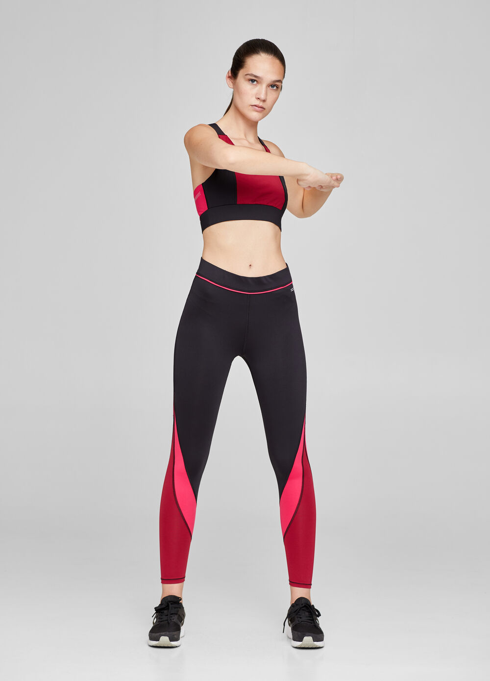 Two-tone stretch gym top