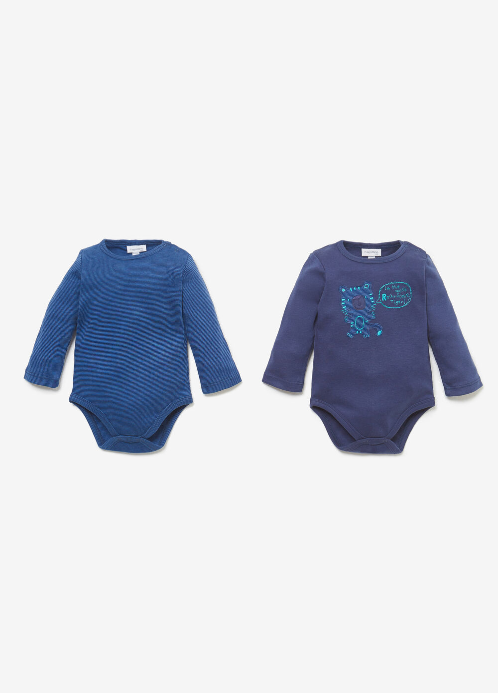 Two-pack bodysuits with stripes and tiger patch