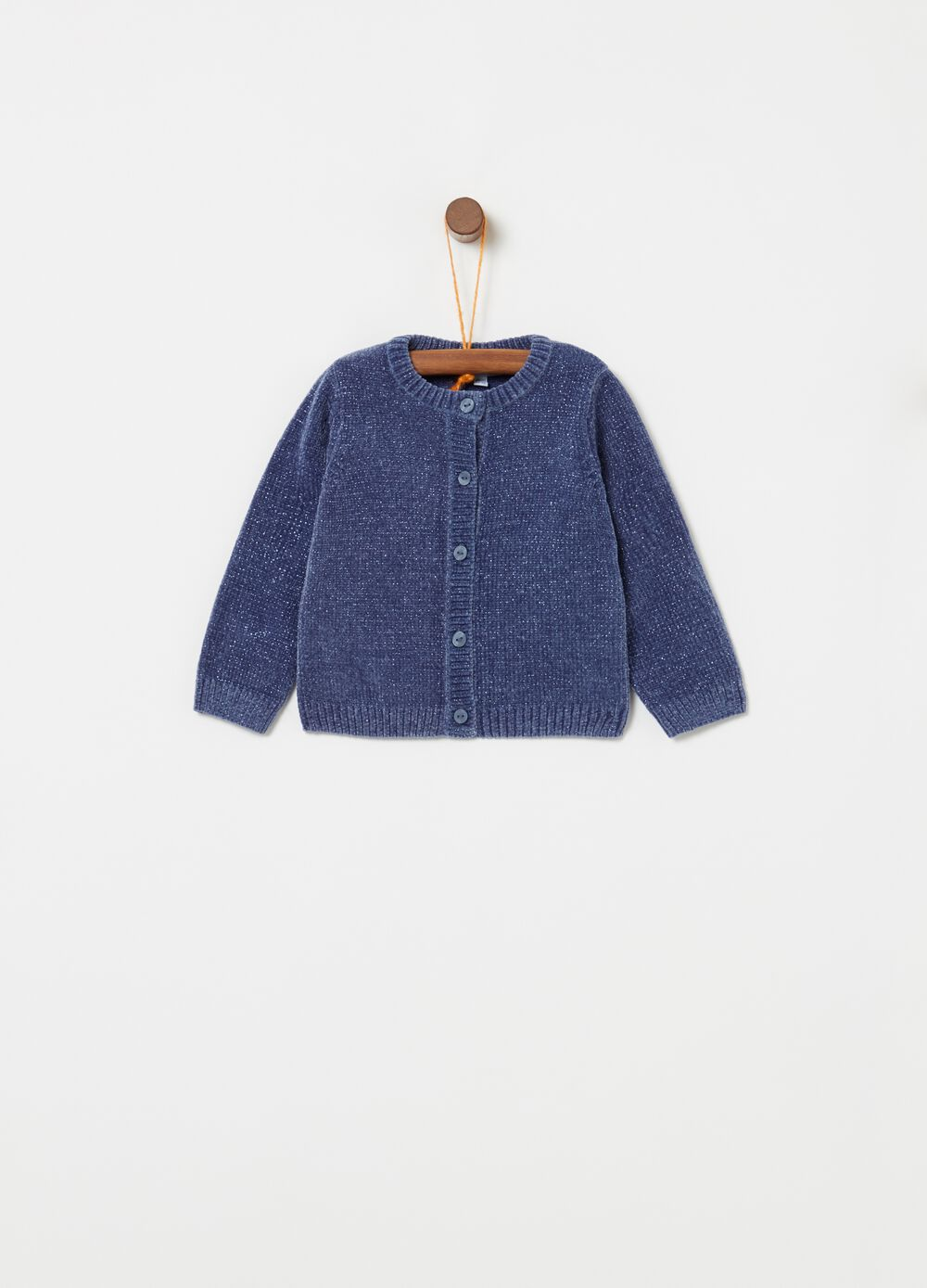 Solid colour knitted cardigan with lurex