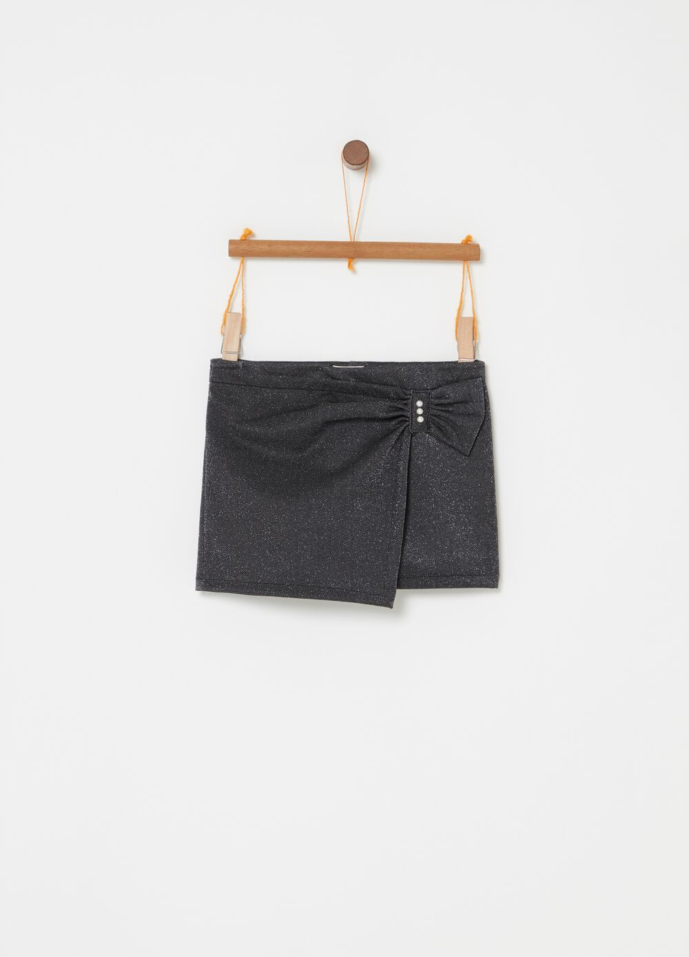 Stretch shorts with lurex and beads