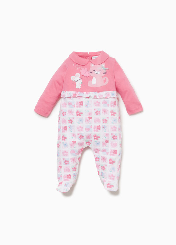 Cotton onesie with animals and flowers