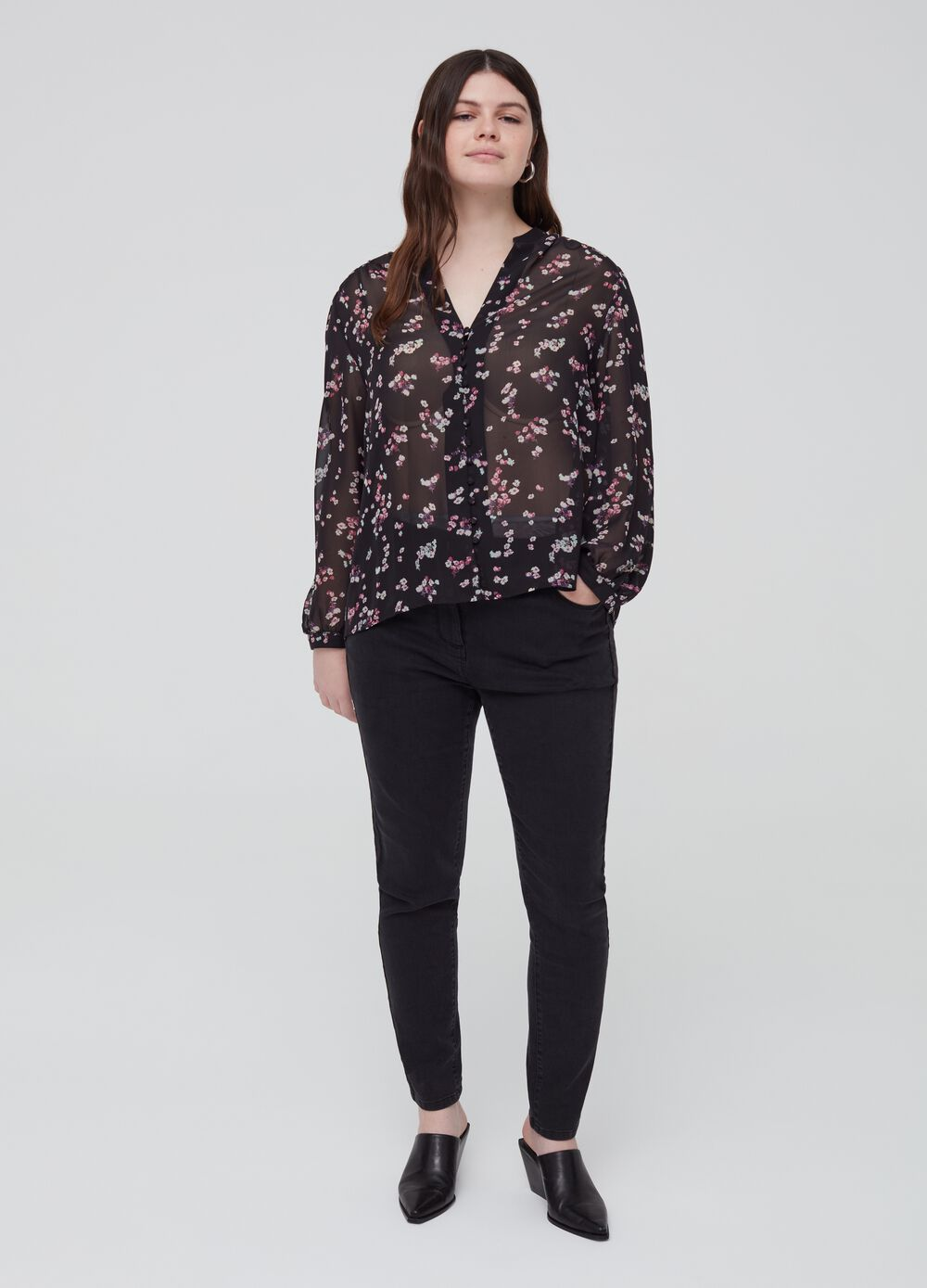 Curvy stretch jeans with five pockets