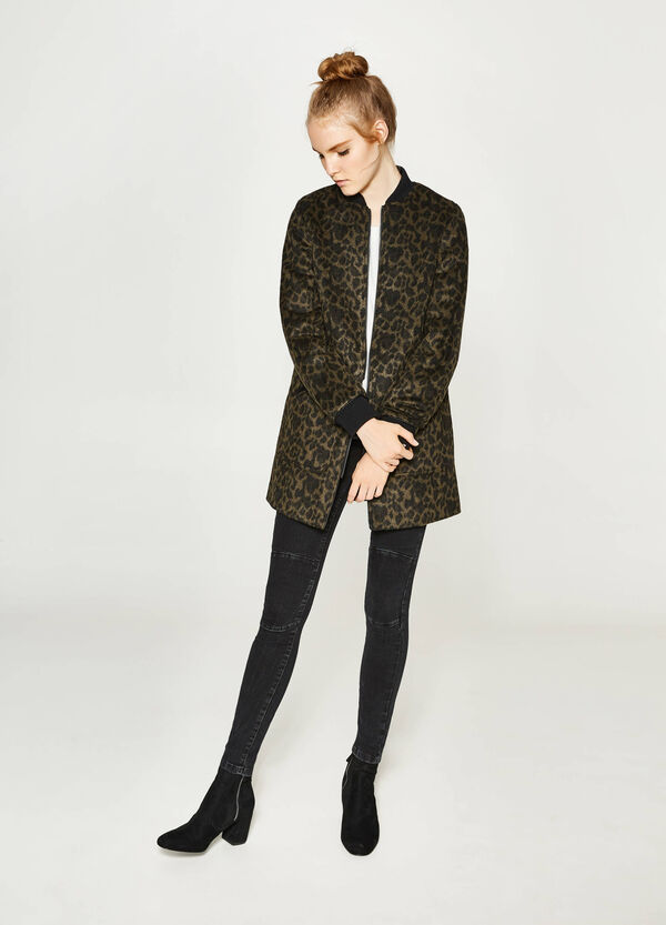 Faux fur coat with animal print | OVS