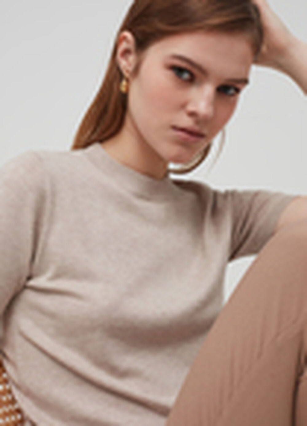 Knitted short-sleeved top
