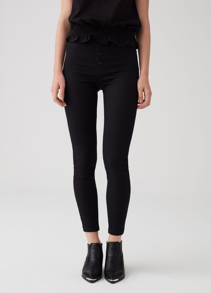Superskinny-fit jeggings with visible buttons