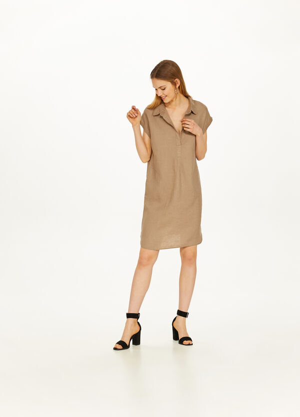 Solid colour 100% linen dress with V-neck