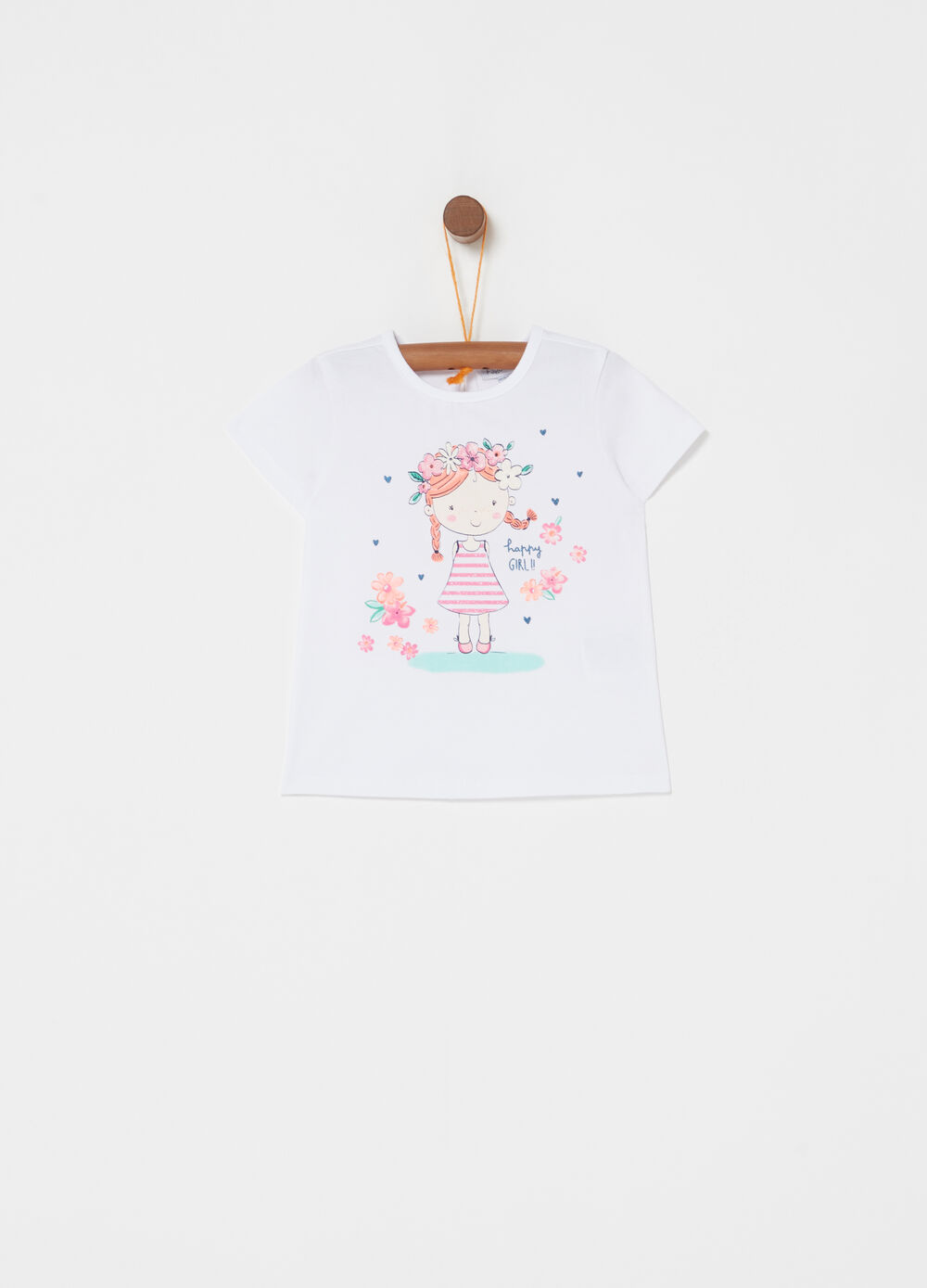T-shirt stretch con stampa glitter