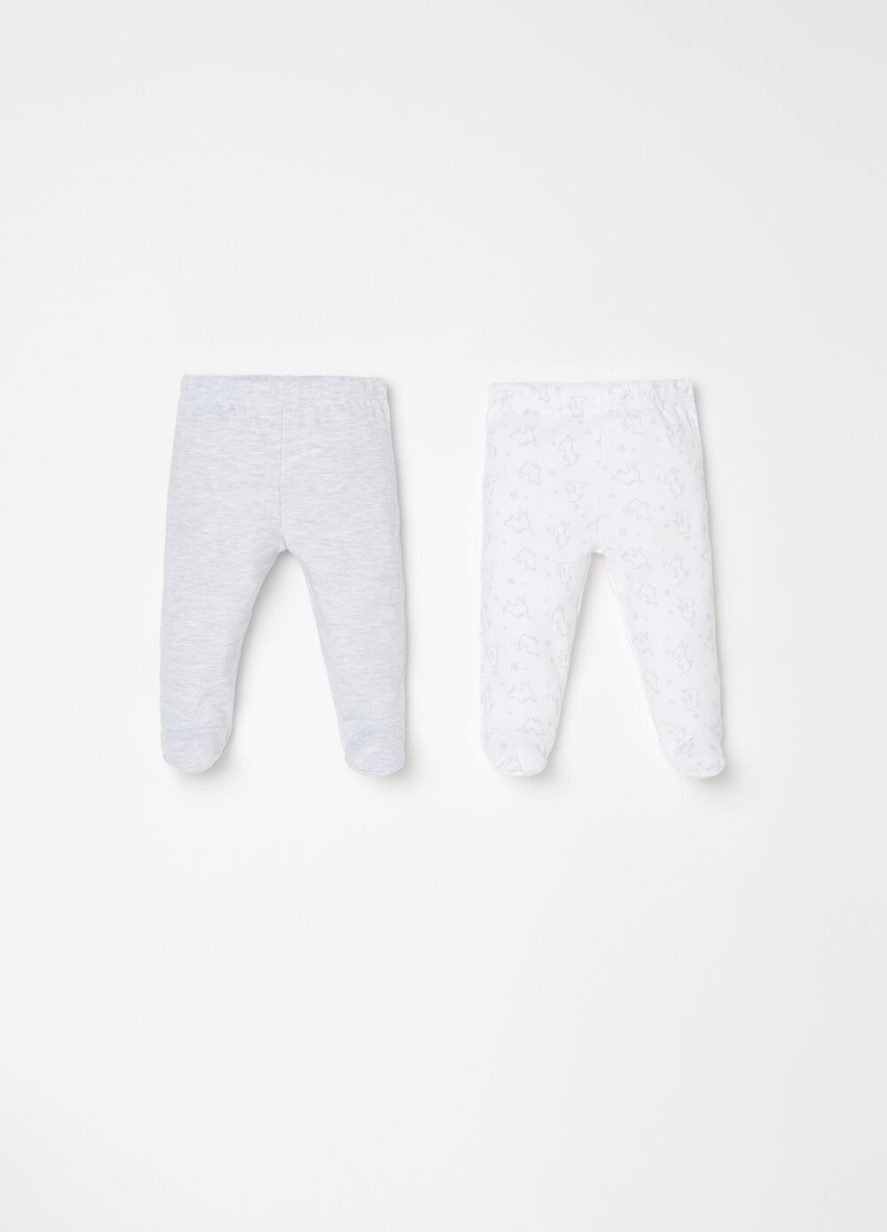 Two-pack leggings in 100% cotton with pattern