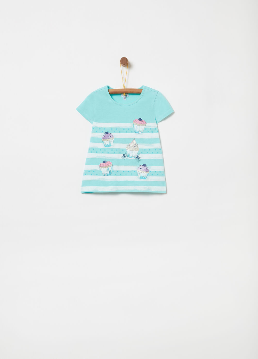 100% cotton T-shirt with glitter and print