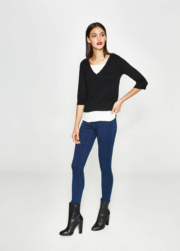 T-shirt with faux layering on neck and hem | OVS