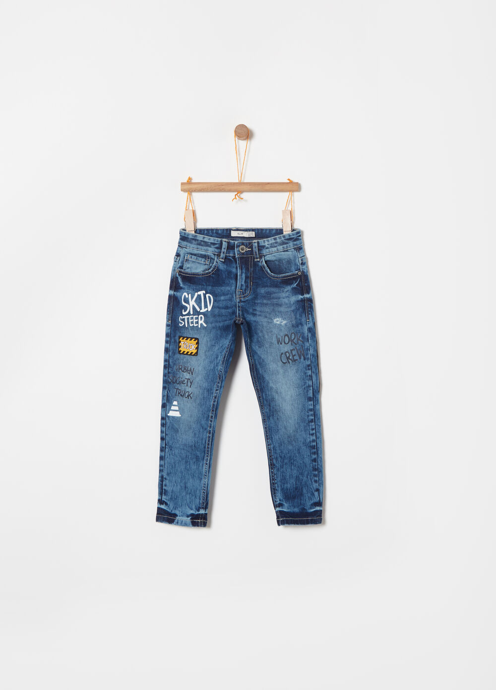 Misdyed stretch slim jeans with print