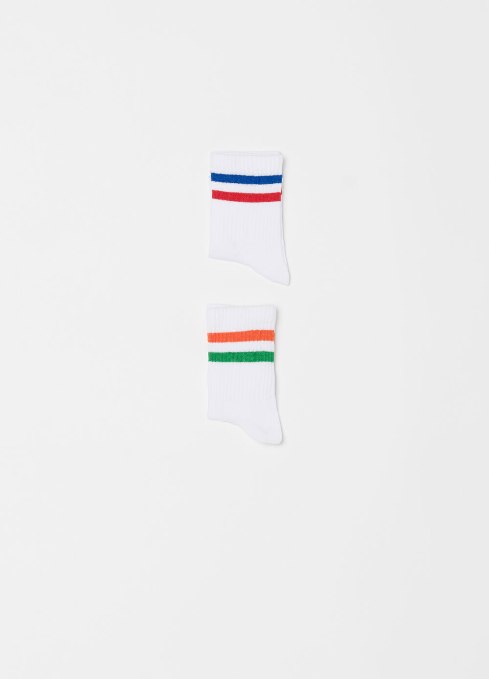 Short solid colour stretch socks with striped ribbing