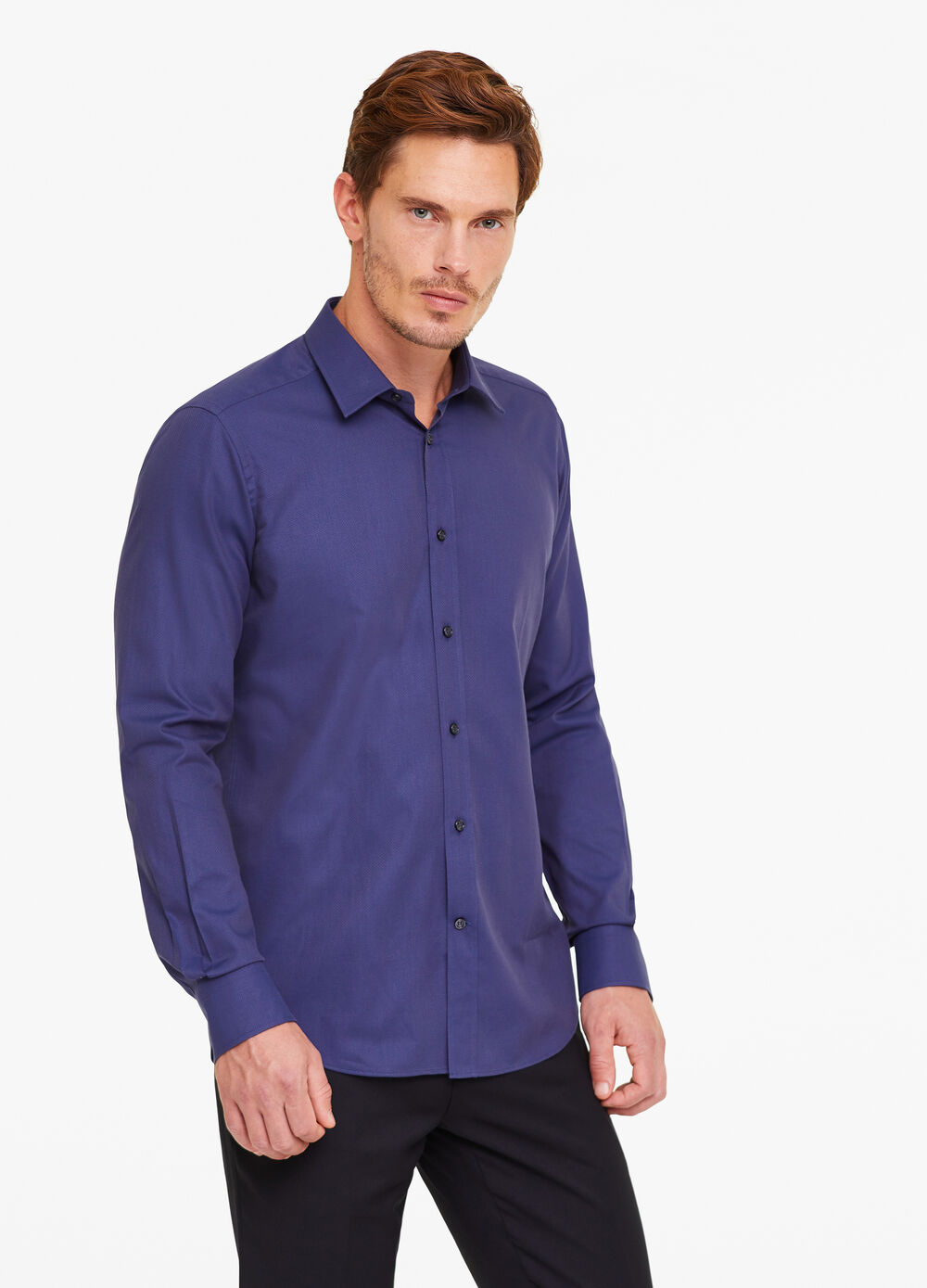 Slim-fit formal shirt with diamond weave