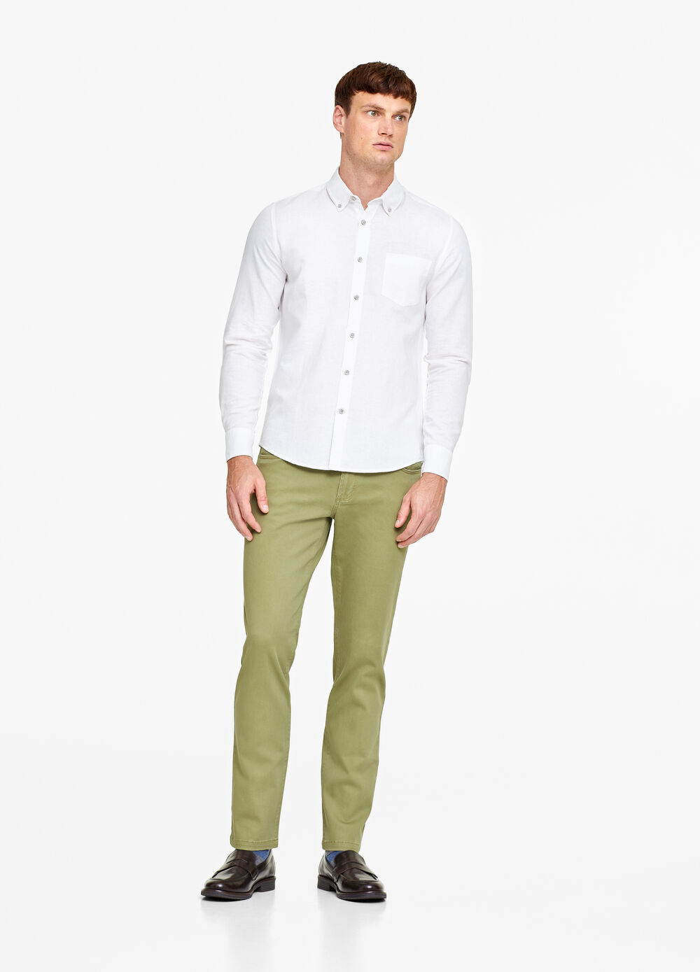 Solid colour, slim-fit stretch trousers