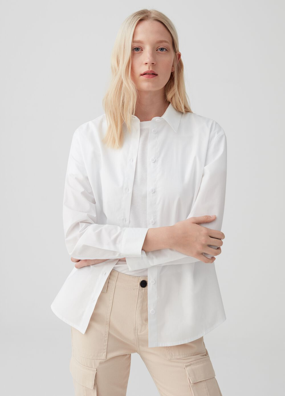Boyfriend-fit shirt with zips on cuffs