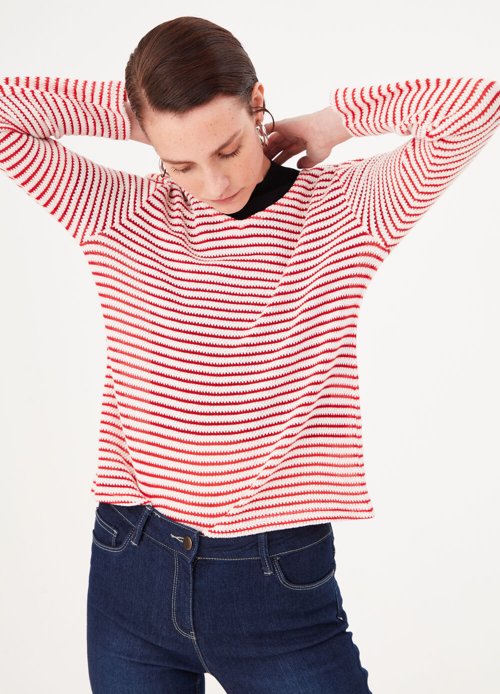Striped cotton and viscose blend pullover