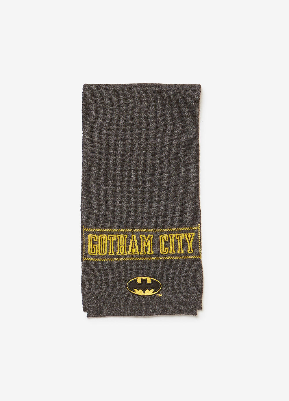 Knitted scarf with embroidery and Batman patch