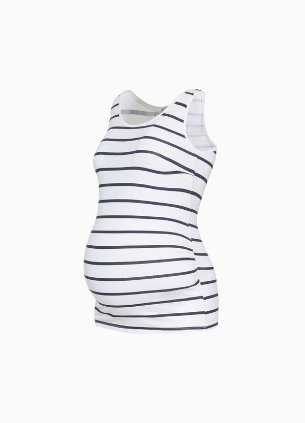 Stretch striped cotton MUM top