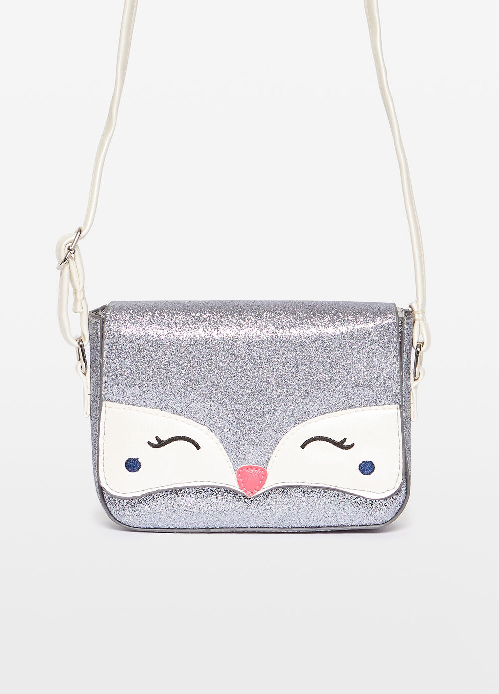 Glitter shoulder bag with embroidery
