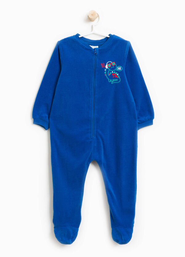 Sleep suit with zip and embroidery