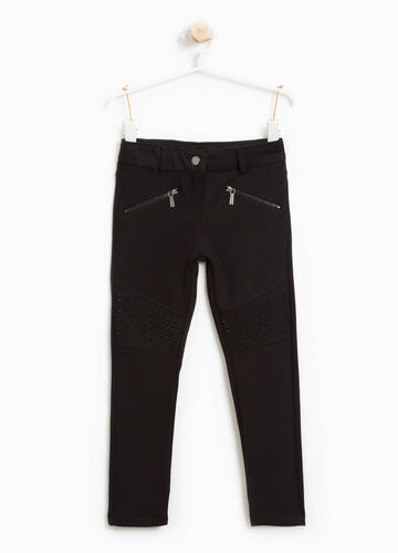 Stretch viscose blend trousers with zip