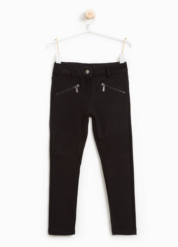 Stretch viscose blend trousers with zip | OVS