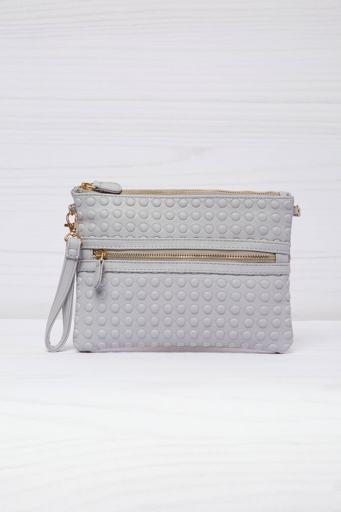 Solid colour leather look clutch.