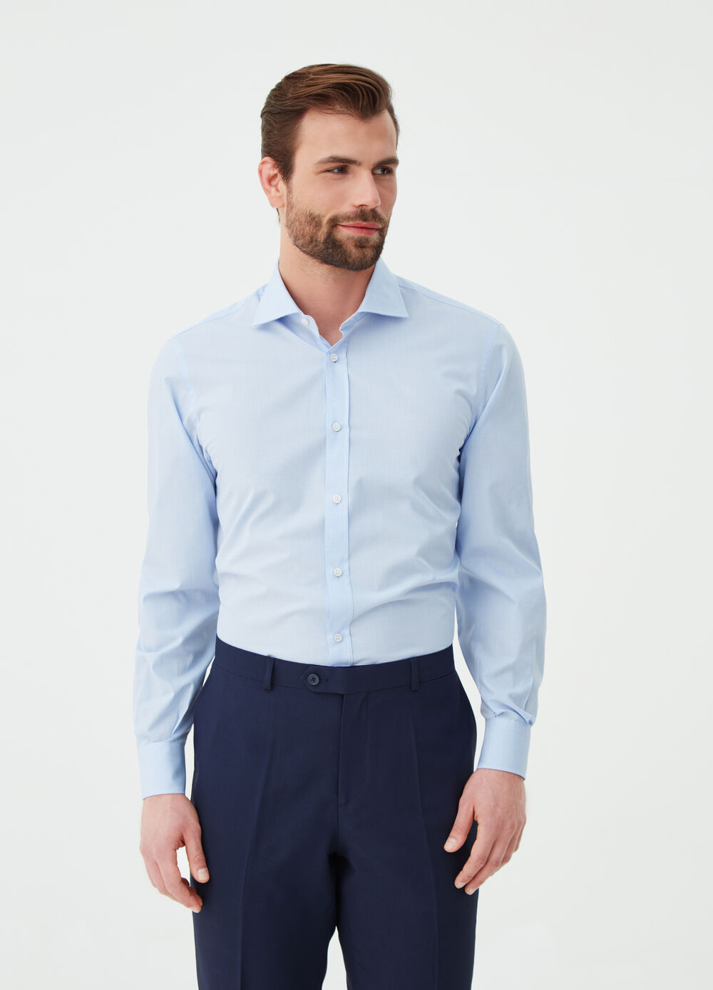 Camicia regular fit con polso smussato