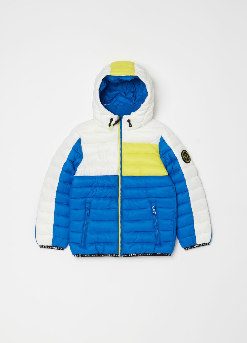 Jacket with padding and fluorescent details