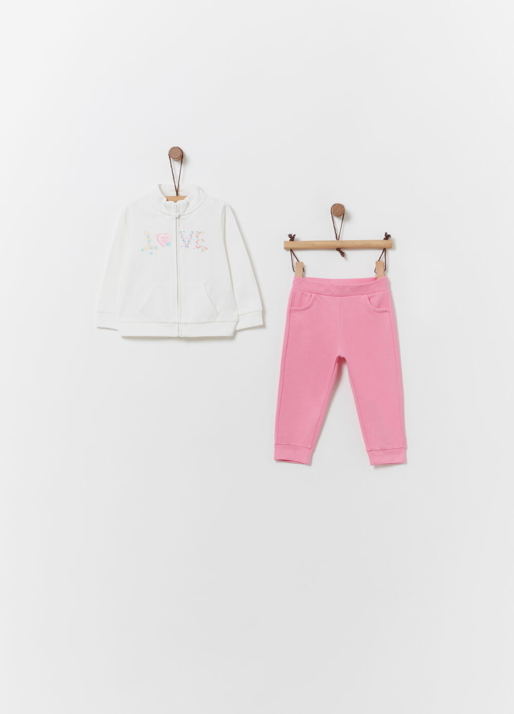Solid colour jogging set in 100% cotton