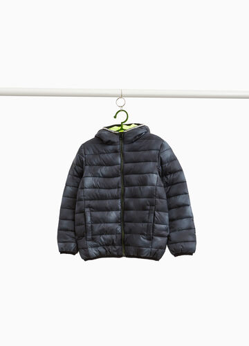Down jacket with misdyed hood