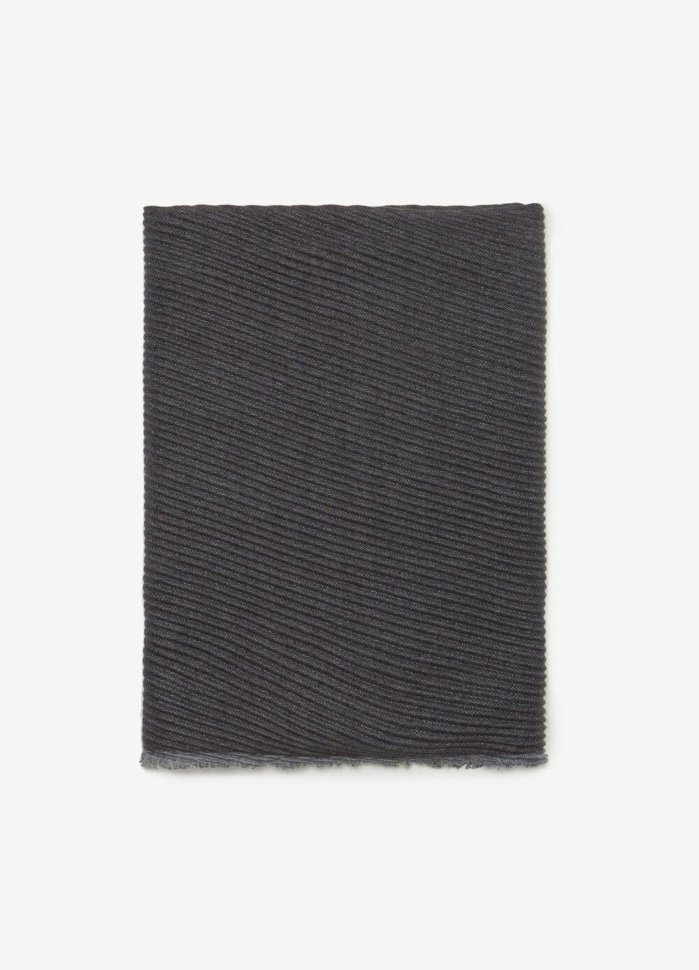 Two-tone pleated scarf with striped weave