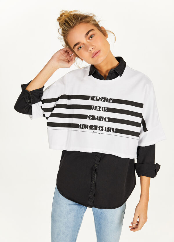 Crop sweatshirt in 100% cotton with printed lettering