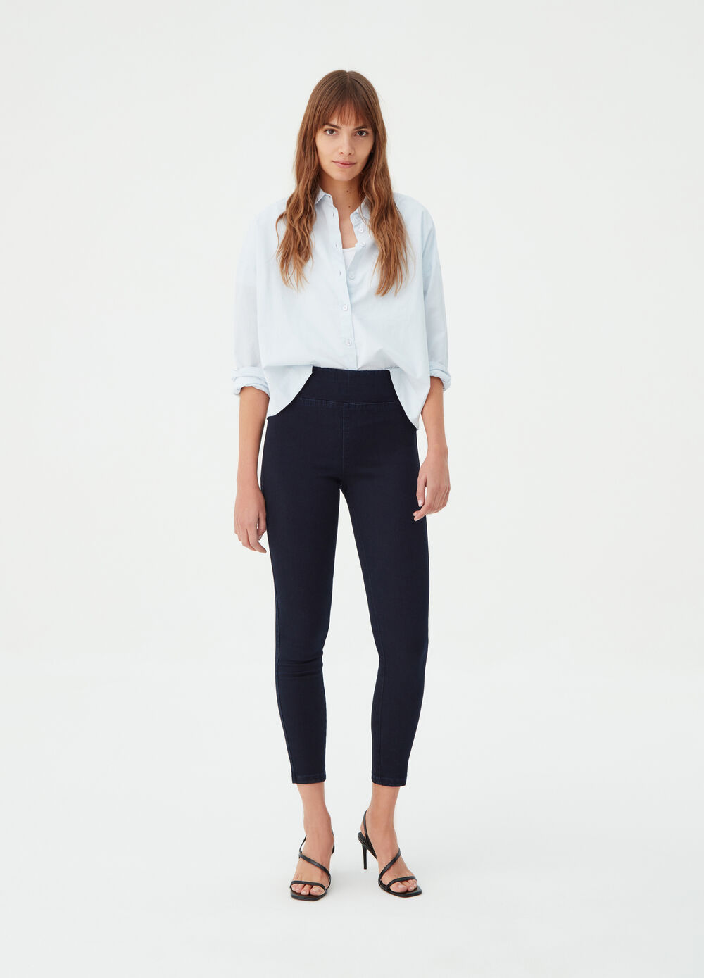 Super stretch jeggings with high waist