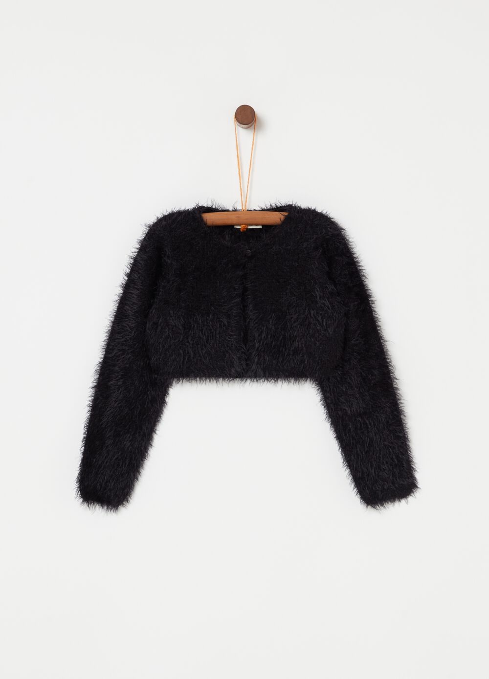 Fur-effect crop cardigan