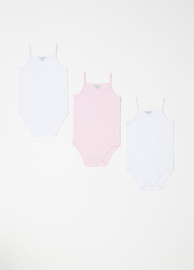 Three-pack solid colour bodysuits with spaghetti straps