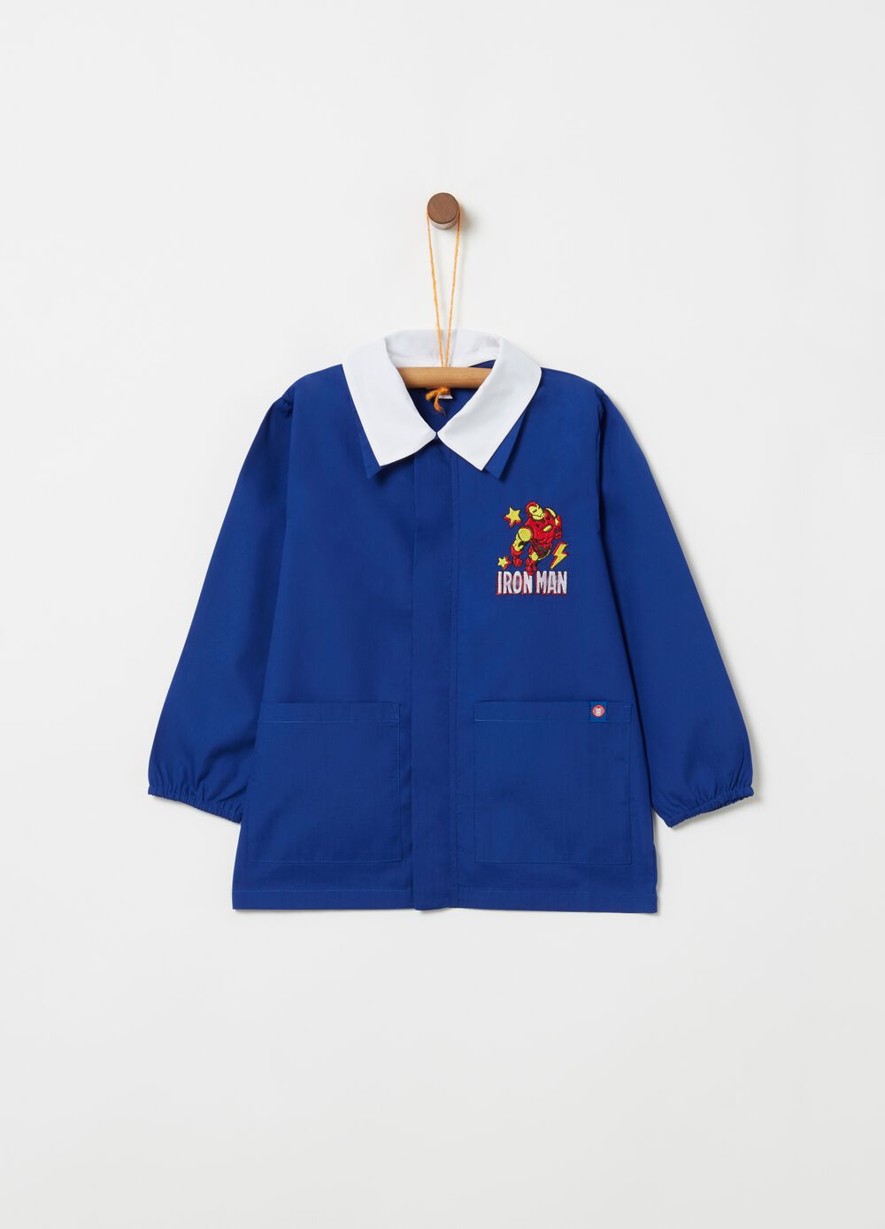 School smock with Iron Man embroidery and pockets