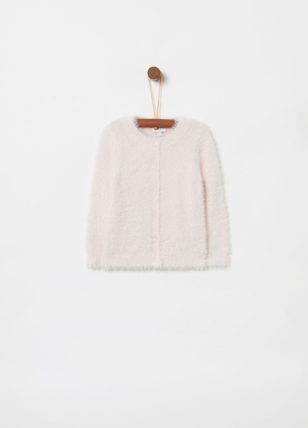 Fur-effect knitted cardigan