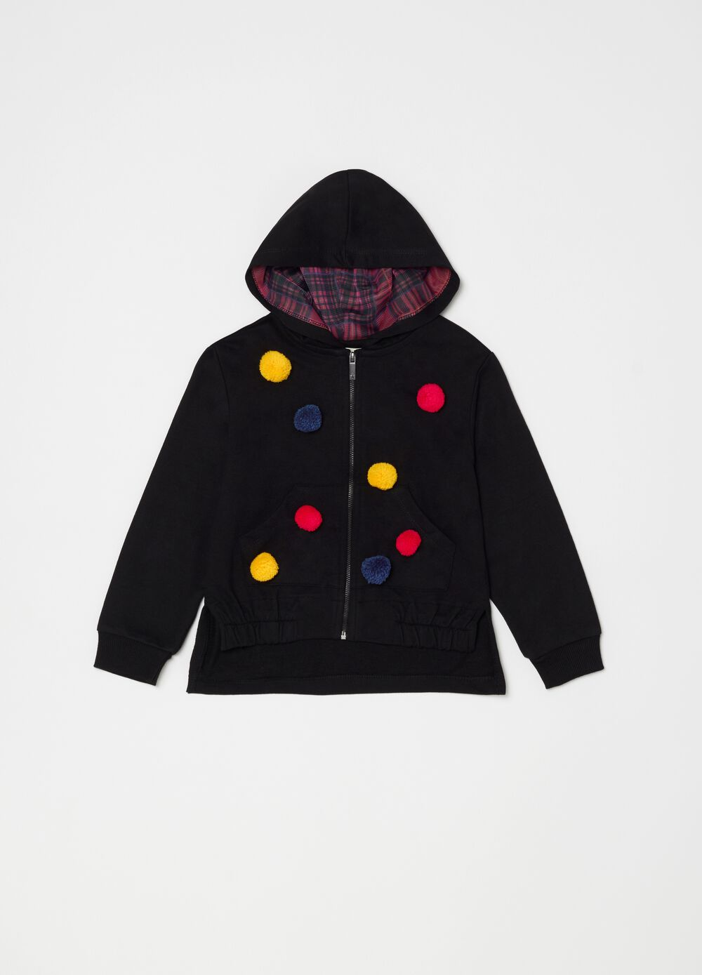 Sweatshirt with hood pompoms and pockets