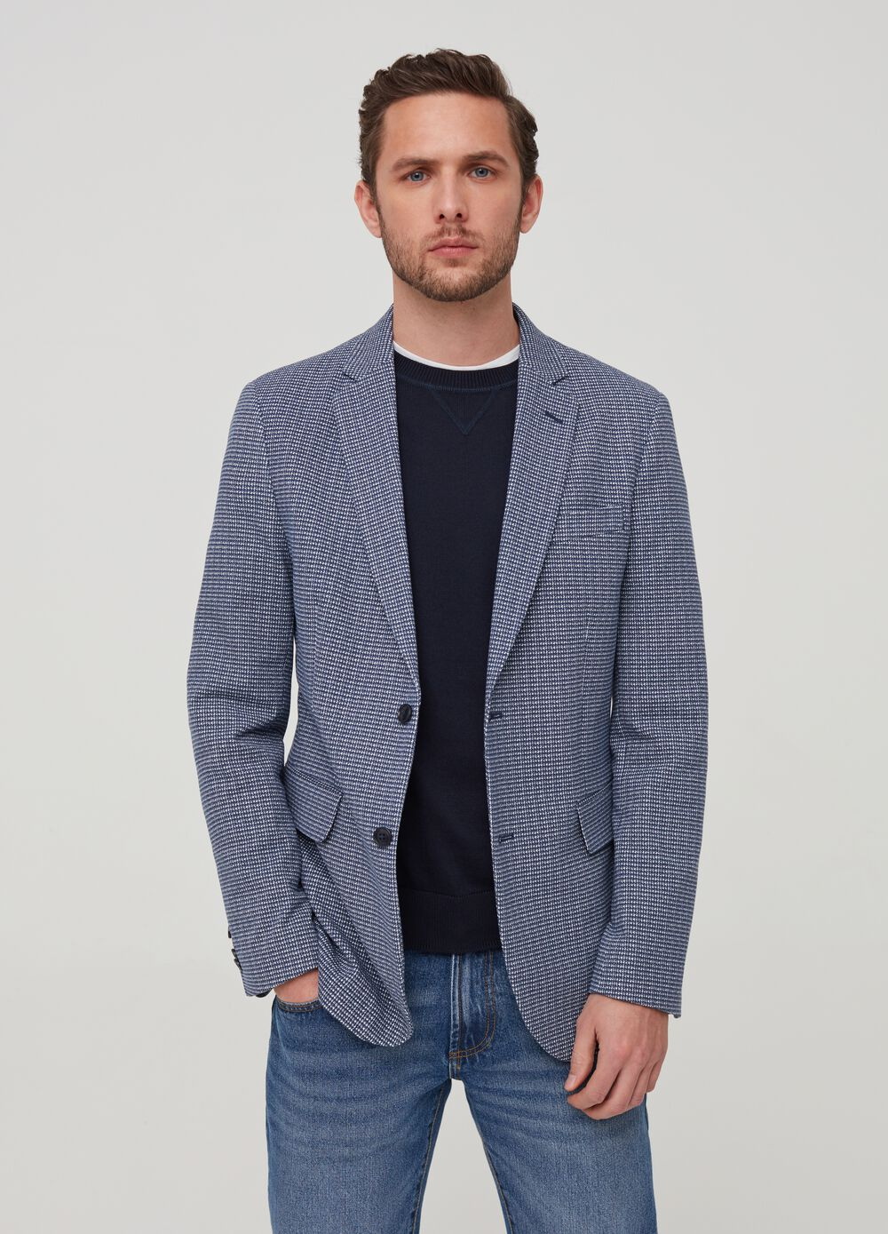 Stretch blazer with micro check pattern