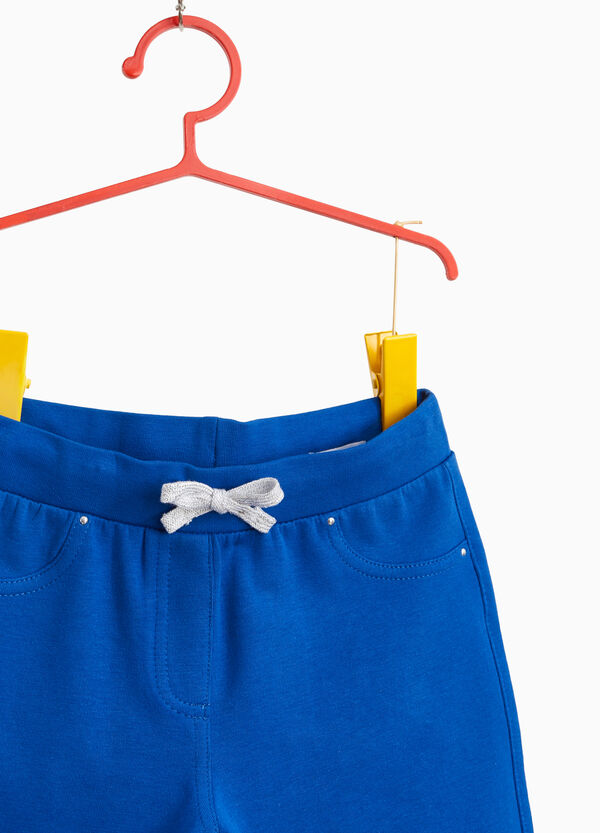 Cotton shorts with glitter drawstring