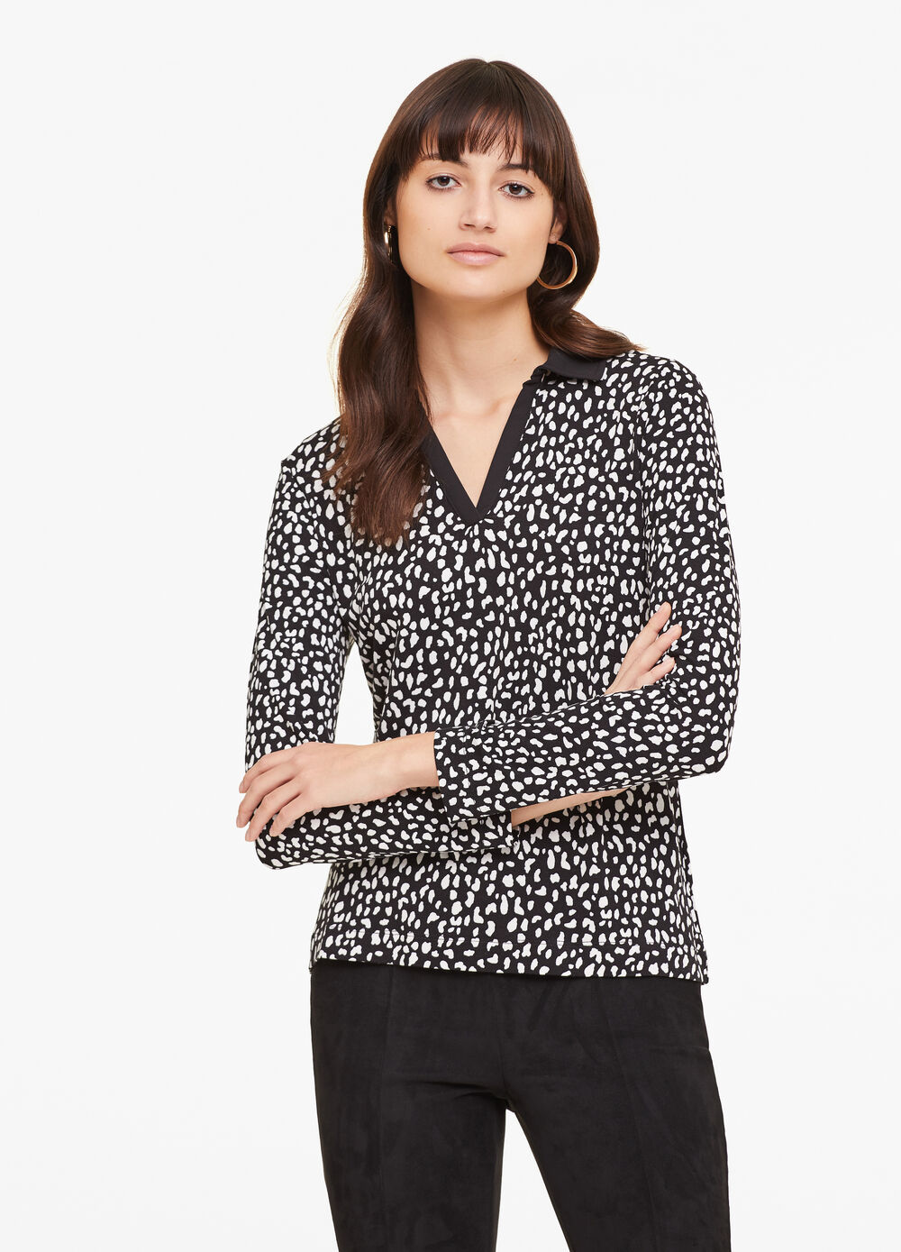 Patterned stretch viscose polo shirt