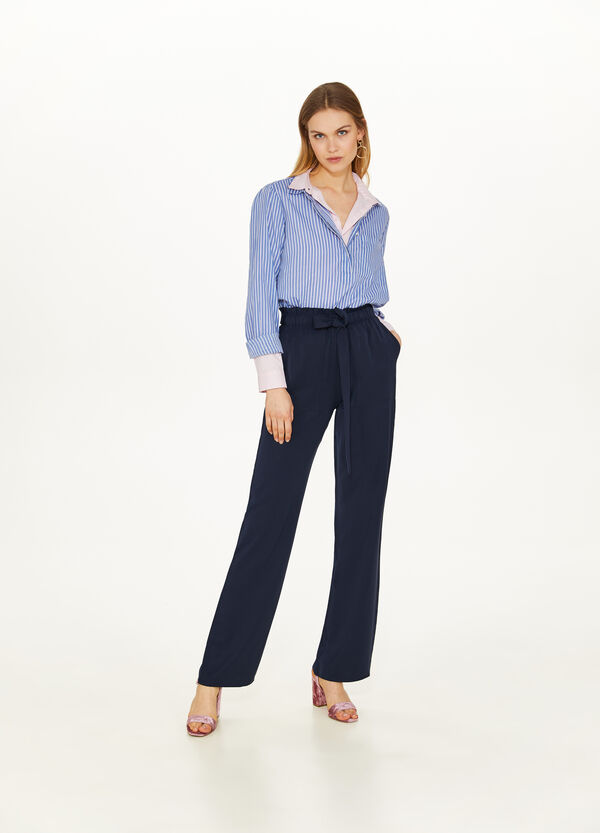 Palazzo trousers with solid colour bow