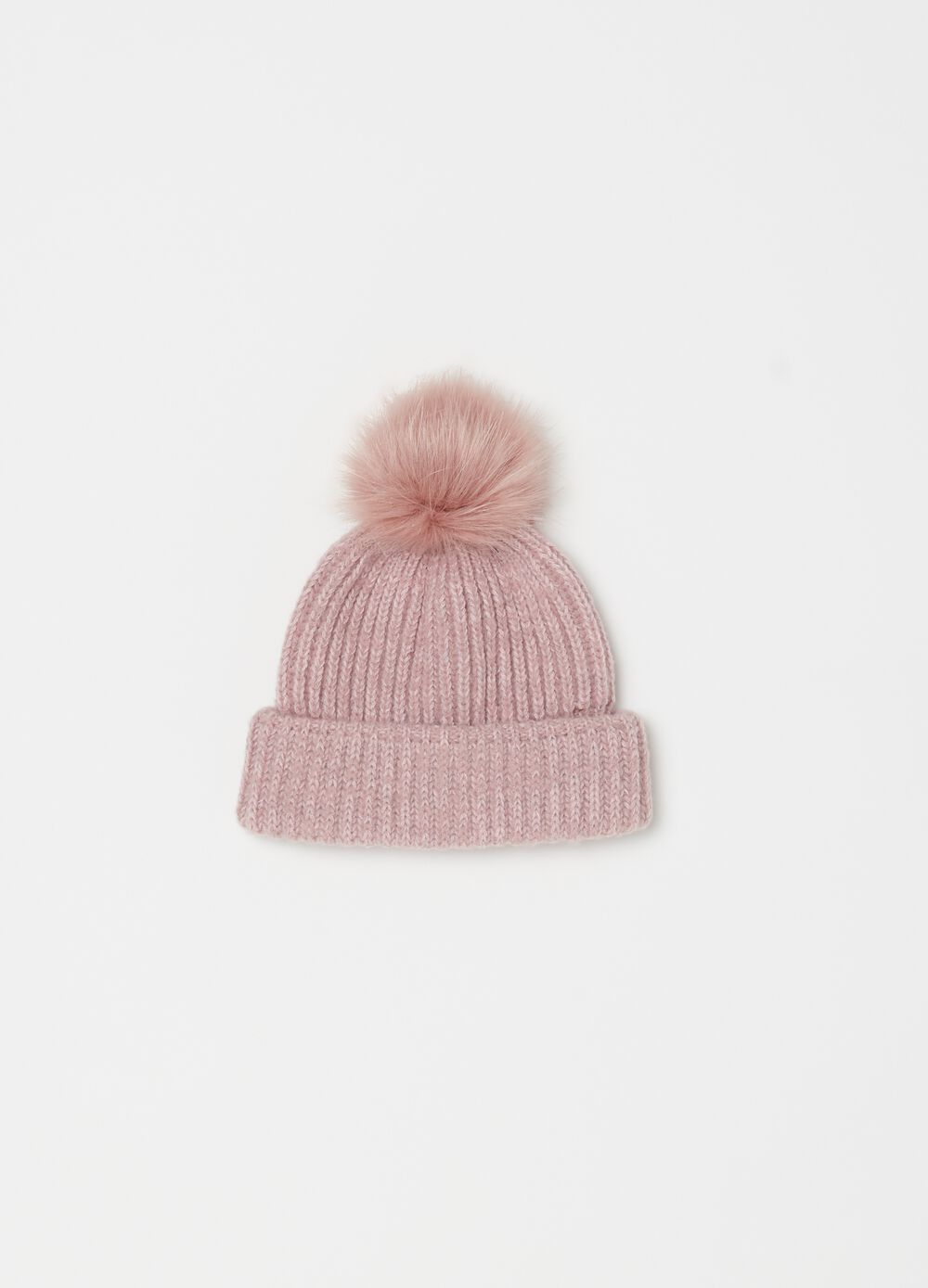 Maxi knitted hat with pompom