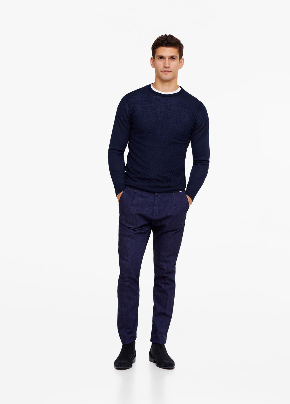 Rumford solid colour knitted pullover