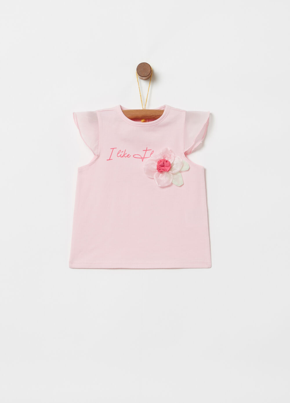 Long-sleeved organza T-shirt with bow print