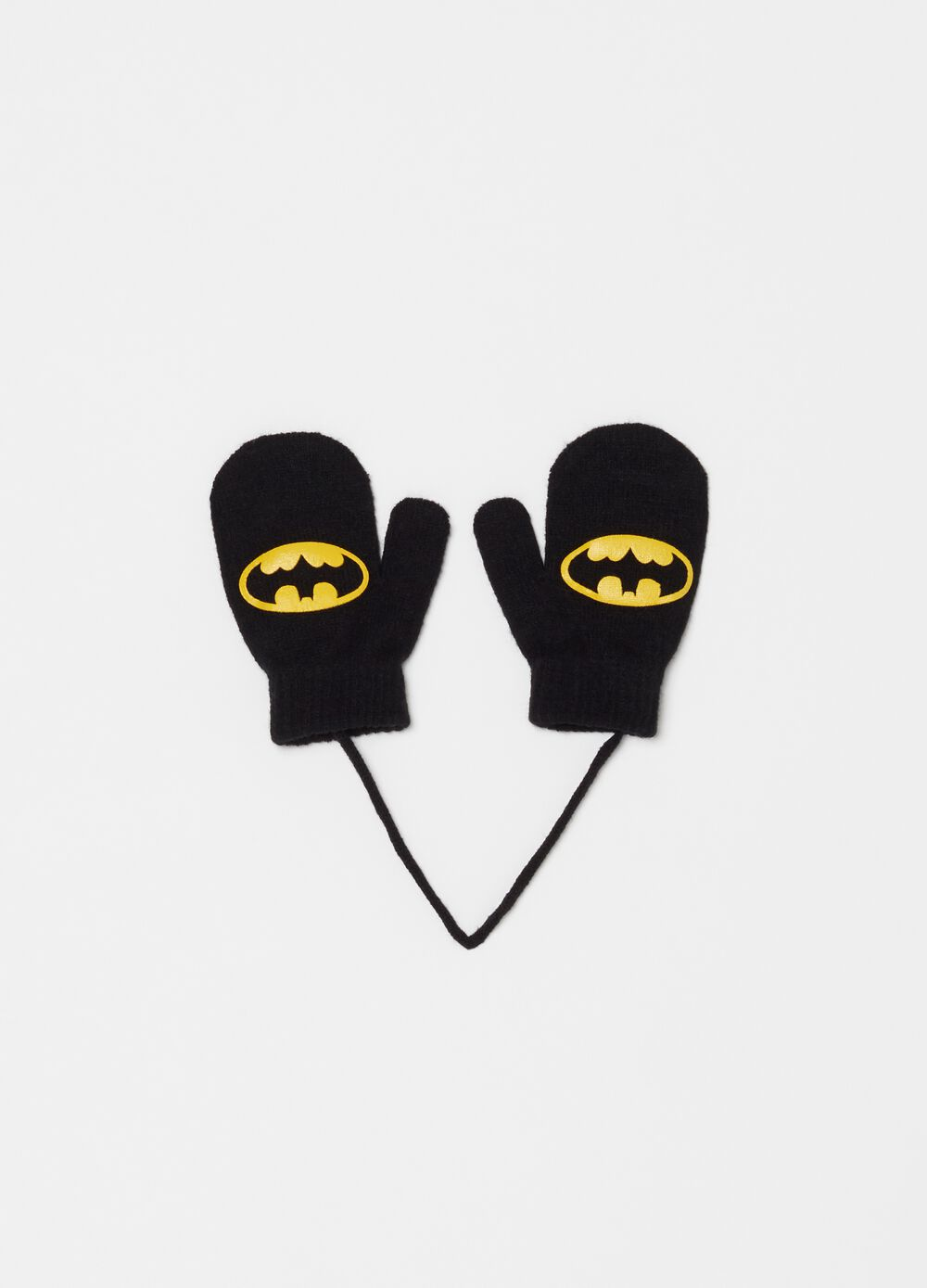 Knitted mittens with Warner Bros Batman print