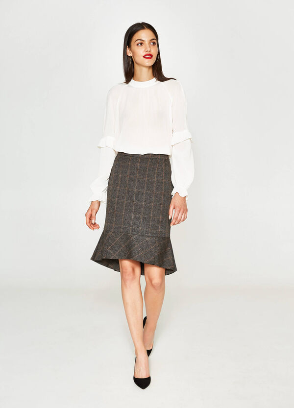 Check viscose pencil skirt